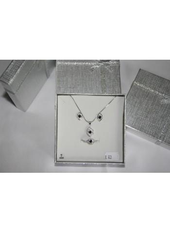 Parure bijoux femmes - 3 pièces avec pierre noire