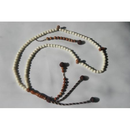 Sibha chapelet  billes blanches et marrons, capacité dhikr 10000