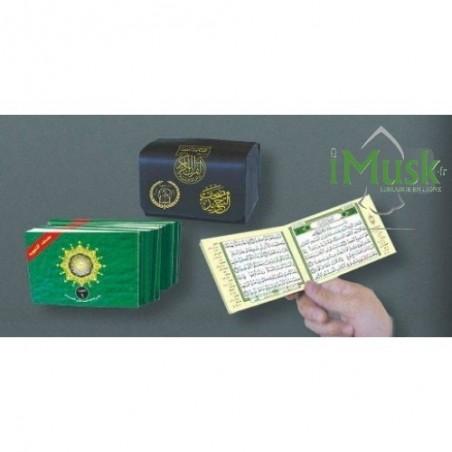 Pochette contenant l'intégralité du Saint Coran en 30 livrets avec règles de Tajwid ( lecture hafs )( 13 * 8 )