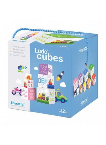 Ludo'cubes: 10 cubes à empiler, Jeu de construction (Arabe-Français), Educatfal