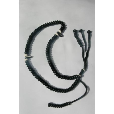 Sibha chapelet avec billes noires et blanches. capacité dhikr 10000