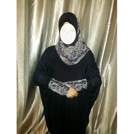 Tenue de prière femmes - Tout en 1 - taille unique couleur noire avec arabesques violet noires
